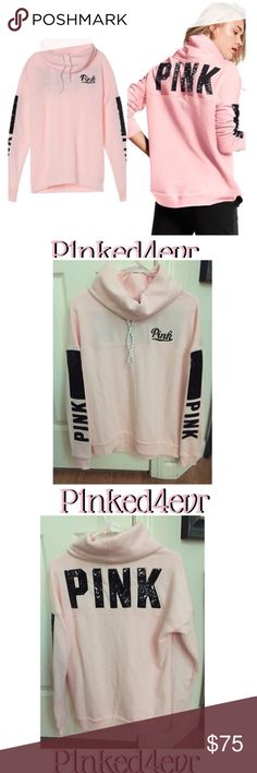 VS PINK Bling Logo Cowl Neck Pink W/Black Bling VS PINK Bling Logo Cowl Neck Pink W/Black Bling. Drawstring pullover cowl neck sweatshirt in a super soft pastel pink fleece with black sequin bling graphics across the upper back, on both sleeves and on chest area. Size XS 60% Cotton / 40% Polyester.         ❌SELECTIVE TRADES FOR OTHER VS PINK WITH ESTABLISHED TRADERS ONLY- SEE TRADING RULES LISTING FOR DETAILS❌ PINK Victoria's Secret Tops Sweatshirts & Hoodies