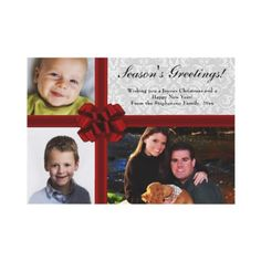 Red Ribbon Bow, 3-Photo Holiday Greeting Card as low as $0.87 in bulk!