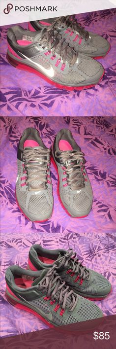 Nike Airmax size 9 Dark gray and pink Nike Airmax's with reflective logo. In good, used condition. Women's size 9. Nike Shoes Athletic Shoes