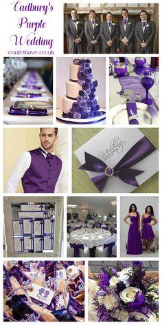 cadburys purple wedding colour scheme mood board