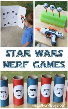 Wars Themed Nerf Games Three Star Wars themed Nerf games - these would be great for a party, or for a rainy day.Three Star Wars themed Nerf games - these would be great for a party, or for a rainy day. Disney Party Games, Kids Party Games, Star Wars Party Games, Star Wars Birthday Games, Girls Star Wars Party, Disney Themed Games, Disney Parties, Parties Food, Fun Games