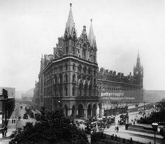 St Pancras Station and Midland Grand Hotel London, designed by Victorian architect George Gilbert Scott, circa 1905.