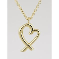 Pre-owned Tiffany & Co. 18k Gold Paloma Picasso Loving Heart Necklace (€395) ❤ liked on Polyvore featuring jewelry, necklaces, fine jewelry, 18k necklace, heart shaped necklace, heart necklace and tiffany & co jewelry