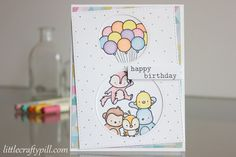 Birthday card with Prismacolor pencils and Mama Elephant stamps #mamaelephant