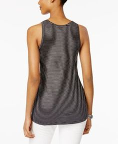 Style & Co Striped Tank Top, Only at Macy's - White/Intrepid Blue XS