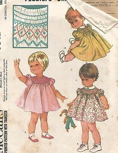 7842 McCalls Sewing Pattern Babies Smocked Dress Size 6 months Vintage 1960s   eBay