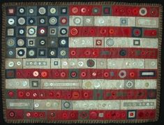 Folk Art Flag Quilt With Buttons #USA, #americanflag, #pinsland, https://apps.facebook.com/yangutu