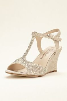 2a187f8c6fac These crystal embellished t-strap wedge sandals by Blossom will quickly  become your go-