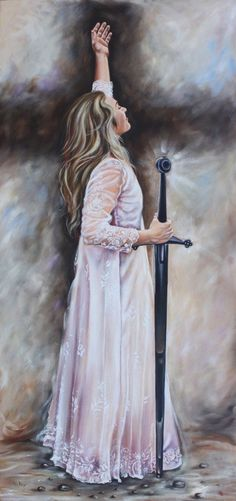 Cross, Lady praising the Lord and Sword, symbolic, Sword of the Spirit prophetic art.