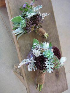Living Bouquet...dark eggplant dahlias w/ soft silvery foliage… lambs' ear, dusty miller, leucadendron...nigella, metallic purple viburnum berries, & blooming mint
