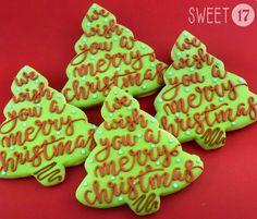 Sweet 17 Cookies by Christmas Tree Cookies, Christmas Party Food, Christmas Foods, Holiday Cookies, Christmas Recipes, Gingerbread Cookies, Christmas Ideas, Cookie Frosting, Royal Icing Cookies