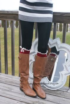 Holiday RED Boot Socks, with knit lace trim & buttons- leg warmers Knit Lace, Lace Knitting, Boot Cuffs, Boot Socks, Cute Socks, Red Boots, Best Wear, Stretch Lace, Lace Trim