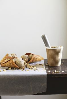 Caramelized Banana & Peanut Butter Ice Cream with Almond Flour Waffle Cones — Roost