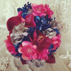 SALE - Ready to Ship - Blue Gray Bouquet - Apple Blossom Bouquet - Colorful Bouquet - Blue Bouquet - Blue Hydrangea Bouquet - pinned by pin4etsy.com
