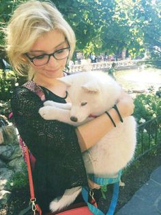 Kirstin Maldonado (Pentatonix) & her baby Husky named Olaf