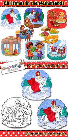 Christmas Netherlands Clip art set depicts the way the Dutch celebrate!