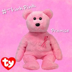 Supporting a great cause is stylish all year round! Promise the bear always wears his ribbon in support! #ThinkPink #BeanieBaby