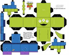 Alien Toy Story - Cubeecraft by Garcho on DeviantArt Toy Story Alien, Toy Story 3, Toy Story Party, Toy Story Crafts, Movie Crafts, Imprimibles Toy Story Gratis, Toy Story Birthday, Disney Crafts, Paper Models