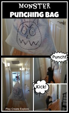 """Pinner said: """"After an assessment this Monster Punching Bag might be just what a kiddo needs to feel big and strong again:)"""" (control, mastery, overcoming fears)."""