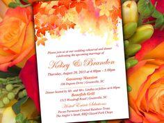 "Fall Rehearsal Dinner Invitation Template - Autumn Wedding ""Watercolor Fall"" Red Orange Wedding Template - Wedding Rehearsal  Invitation by PaintTheDayDesigns on Etsy"