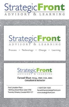 Strategic Front logo and bussiness card designed by Fusion Studios Inc. Bussiness Card, Logo Creation, Team Player, Learning Process, Corporate Identity, Business Card Design, How To Be Outgoing, Toronto, Studios