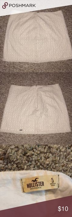 White Lace Skirt White Lace skirt from Hollister, size 5, soft cotton lining, lace is slightly shimmery Hollister Skirts Mini