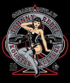 Johnny Rebel T-Shirt Design Pin Up by russellink on DeviantArt Pin Up Girl Tattoo, Pin Up Tattoos, Historia Do Rock, Look Rockabilly, Pin Up Drawings, Pin Up Girl Vintage, Vintage Cars, Pin Up Posters, Vintage Posters