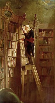The Bookworm (German: Der Bücherwurm) is an 1850 oil-on-canvas painting by the German painter and poet Carl Spitzweg. The picture is typical of Spitzweg's humorous, anecdotal style and it is characteristic of Biedermeier art in general. (from Wikipedia) Carl Spitzweg, Les Rats, Oil Painting Reproductions, Love Art, Art History, Book Worms, Art Gallery, Illustration Art, Germany