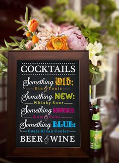 We heart this wedding cocktail menu - what a great idea!