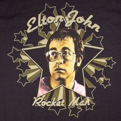 Elton John Rocket Man Black T Shirt New With Tags Piano Man Rock Concert Retro #Tultex #GraphicTee