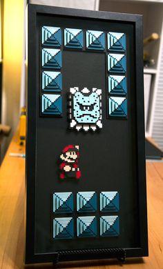 THWOMP and Mario Super Mario 3 8bit hand cut 3D