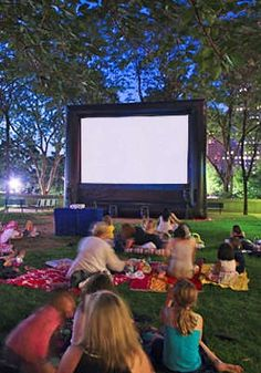 Outdoor movie screen for the kids