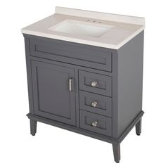 Home Decorators Collection Abbotsford 31.6 in. W Vanity in Graphite with Solid Surface Vanity Top in Titanium with White Basin and…