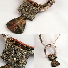 GB, 2016... Fibre necklace... Machine and hand stitching on felt, silk, cotton, silk velvet... Red Creek Jasper pendant