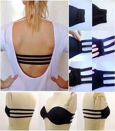 DIY bra hack - 3 strap bra for those backless tops! Diy Clothing, Sewing Clothes, Bh Tricks, Diy Bra, Bra Hacks, Backless Top, Backless Dresses, Strapless Dress, Diy Vetement