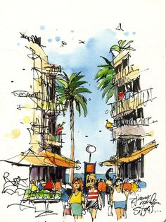 Urban Sketchers: James Richards. Sitges (Barcelona)