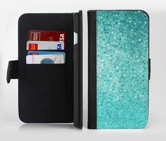 The Turquoise Mosaic Tiled Ink-Fuzed Leather Folding Wallet Credit-Card Case for the Apple iPhone 6/6s, 6/6s Plus, 5/5s and 5c from DesignSkinz