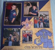 Cub Scouts Layout - Scrapbook.com School Scrapbook Layouts, Scrapbook Layout Sketches, Kids Scrapbook, Scrapbooking Ideas, Cub Scouts Bear, Tiger Scouts, Boy Scouts, Cub Scout Crafts, Eagle Scout Ceremony
