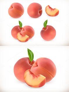 Peach. 3d vector icons set. Illustrations. $11.00