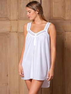 Cute in all white cotton - discover the cotton nightgowns from Jacaranda  Living for day to 525ac825d