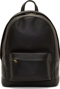 14a58f1dc79 PB 0110 Black Matte Leather Small Backpack Black Leather Backpack, Black  Leather Bags, Real
