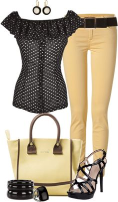 """""""Coloured Jeans for Spring"""" by angela-windsor on Polyvore (with a black skirt, maybe?)"""