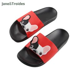 50e7db1ad50c7 Beach Animal Bulldog Slippers Women Summer Funny Shoes Men Cool Flip Flops  Sandals Cartoon Outside Slides Bathroom Floor Female.