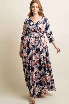 Plus Size Navy Floral Wrap Maxi Dress With Sleeves. Long Plus Size Blue Floral Wrap Dress With 3/4 Length Sleeves. The perfect floral print plus size wrap maxi dress with sleeves. #PlusSizeDresses #getthelook #PlusSize  #PlusSizeFashion #PlusSizeStyle #CurvyGirl #plussizedivas #boldcurvyfashionista  #curvy #curvyfashionista Black Lace Midi Dress, Wrap Dress Floral, Maxi Wrap Dress, Maxi Dress With Sleeves, Short Sleeve Dresses, Long Dresses, Blue Plus Size Dresses, Plus Size Maternity Dresses, Plus Size Maxi Dresses