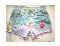 """Bleached Customized Ombre Dip Dyed Cropped Denim Shorts  W 31"""" Grunge Festival Embroidery"""