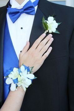 Prom or Homecoming Wristlet and Boutonniere - White Orchids - Royal Blue Vests and Tie - Royal Blue Dress - Electric Blue Dance - Knoxville TN florist