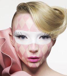 Modern Clown :: Harlequin Pierrot Clown - Viktor & Rolf For Shu Uemura Eyelashes Harlequin Makeup, Harlequin Mask, Makeup Art, Beauty Makeup, Mask Makeup, Jester Makeup, Eye Makeup, Movie Makeup, Doll Makeup