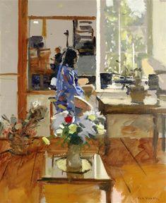 Ken Howard - Sarah Blue and Orange by Ken Howard. Oil on canvas, 61 x cm Figure Painting, Painting & Drawing, Ken Howard, Irish Art, English Artists, Klimt, Light Painting, Portraits, Figurative Art