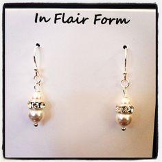 Swarovski Clear Crystal & Pearl Elements Earrings via Etsy