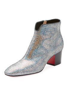 ff22b759e6d Christian Louboutin Disco 70s Low-Heel Glitter Red Sole Booties